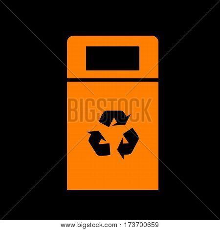 Trashcan sign illustration. Orange icon on black background. Old phosphor monitor. CRT.
