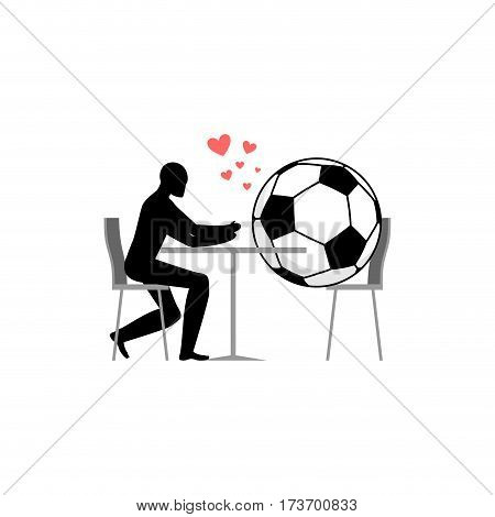 Lover Soccer. Football Ball And Guy In Cafe. Lovers In Restaurant. Romantic Date. Love Sport Play Ga