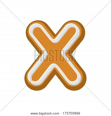 Letter X Gingerbread. Peppermint Honey-cake Font. Cookies Alphabet. Lettering Biscuit