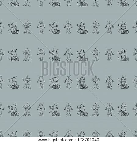 Seamless vector robot doodle pattern. The concept of science and the future. Cartoon style. Hand-drawn outline illustration.