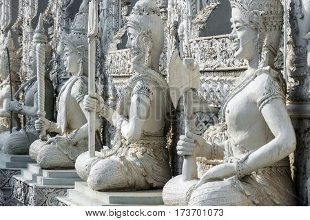Temple Wat Mingmuang in Nan Thailand with buddhist figurines