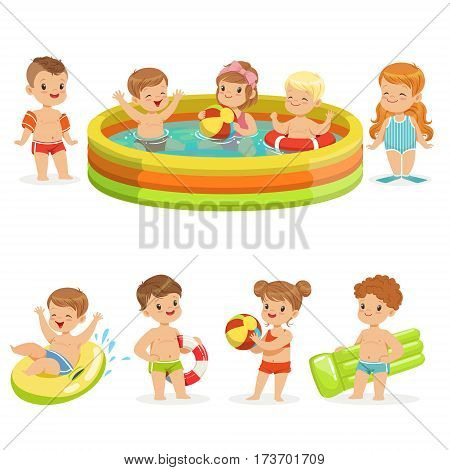 Small Children Having Fun In Water Of The Pool With Floats And Inflatable Toys In Colorful Swimsuit Collection Of Happy Cute Cartoon Characters. Children Playing In And Swimming In Fresh Water Enjoying Summer Vector Illustrations.