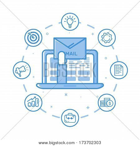 Vector illustration of filled bold outline hand holding envelop and coming out from laptop and open email on screen. Graphic design concept of e-mail marketing, news letter. Blue line icons isolated.