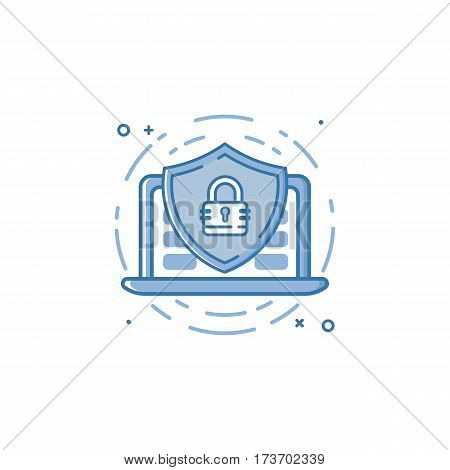 Vector business illustration of blue colors protection shield with lock and laptop icon in outline style. Graphic design concept of web security guard, internet security, data protection, secure data.