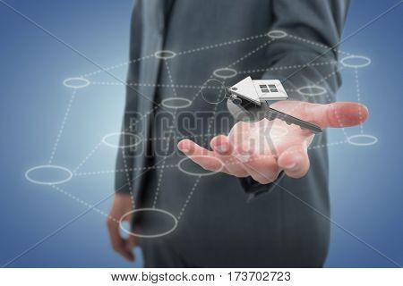 Midsection of businessman against purple vignette 3D