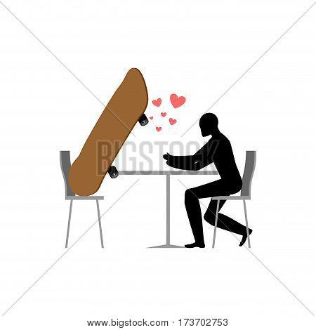 Lover Skateboarding. Skateboard And Skateboarder In Cafe. Lovers In Restaurant. Romantic Date. Love