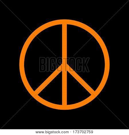 Peace sign illustration. Orange icon on black background. Old phosphor monitor. CRT.