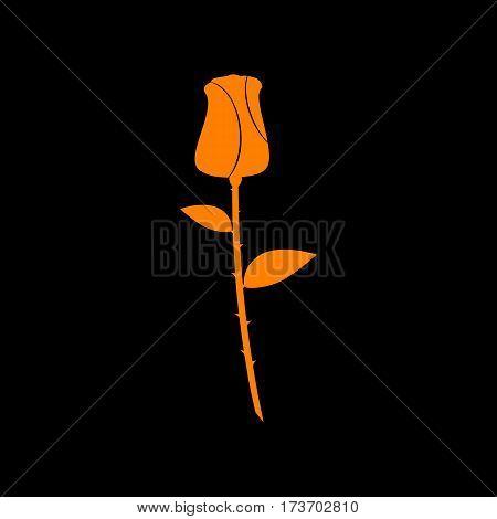 Rose sign illustration. Orange icon on black background. Old phosphor monitor. CRT.
