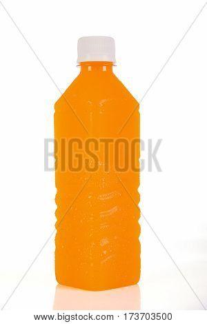 Orange Juice Bottle. Isolated On Background