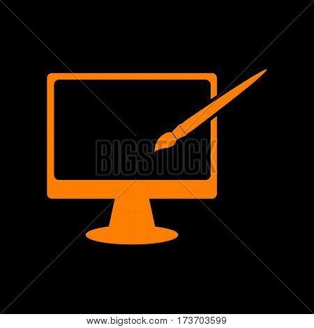 Monitor with brush sign. Orange icon on black background. Old phosphor monitor. CRT.