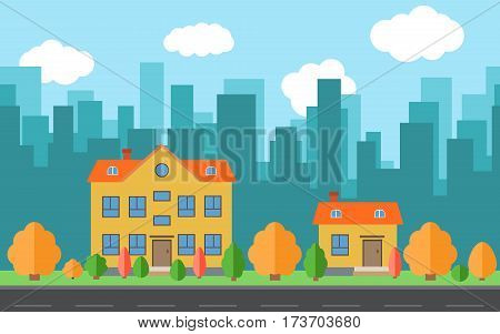Vector city with two cartoon houses and buildings with trees and shrubs. City space with road on flat style background concept. Summer urban landscape. Street view with cityscape on a background