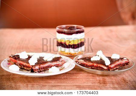Pancake Cake With Fresh Raspberry, Pistachios And Dark Chocolate