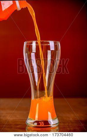 Glass Of Orange Juice On  Background