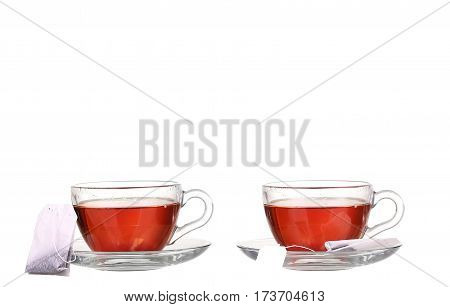 Collage Cup Of Tea With Teabag On White Background