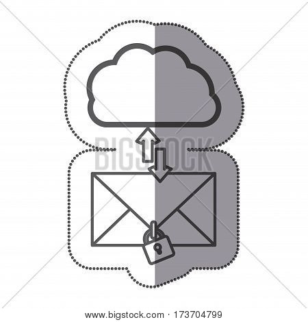 cloud hosting center downloading and uploading messages lock, vector illustration design