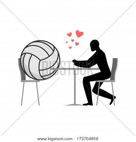 Lover Volleyball. Ball And Guy In Cafe. Lovers In Restaurant. Romantic Date. Love Sport Play Game