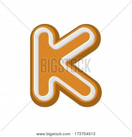 Letter K Gingerbread. Peppermint Honey-cake Font. Cookies Alphabet. Lettering Biscuit