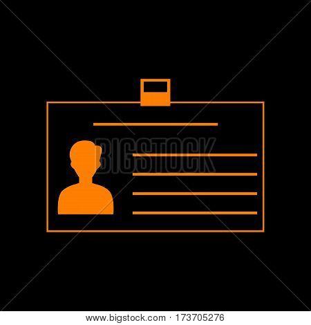 Identification card sign. Orange icon on black background. Old phosphor monitor. CRT.