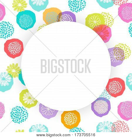 Vector circle frame on seamless floral pattern with stylized doodle flowers.
