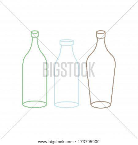 Empty Glass Bottle Set. Transparent Flask On White Background