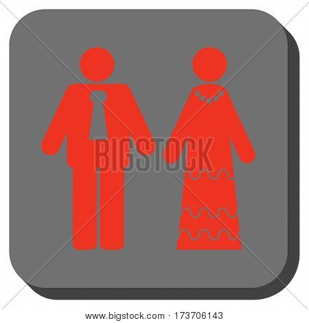 Newlyweds toolbar button. Vector pictogram style is a flat symbol on a rounded square button, red and black colors.