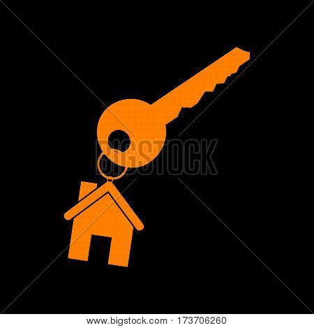 key with keychain as an house sign. Orange icon on black background. Old phosphor monitor. CRT.