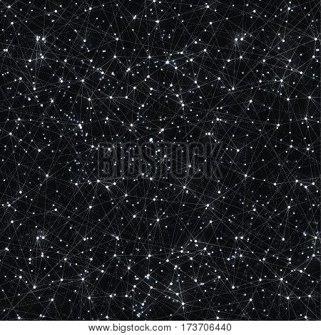 Abstract vector cosmic galaxy black background with nebula, stardust, bright shining stars, and geometric pattern. Vector illustration.
