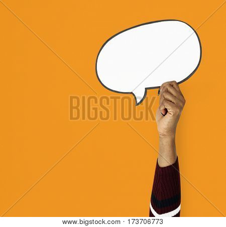 Hand Up Holding Speech Bubble