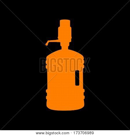 Plastic bottle silhouette with water and siphon. Orange icon on black background. Old phosphor monitor. CRT.