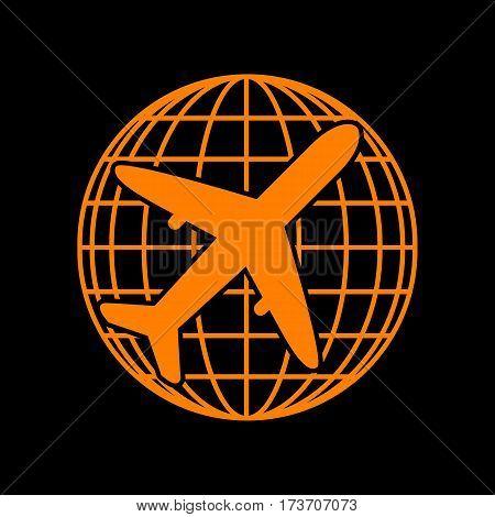 Globe and plane travel sign. Orange icon on black background. Old phosphor monitor. CRT.