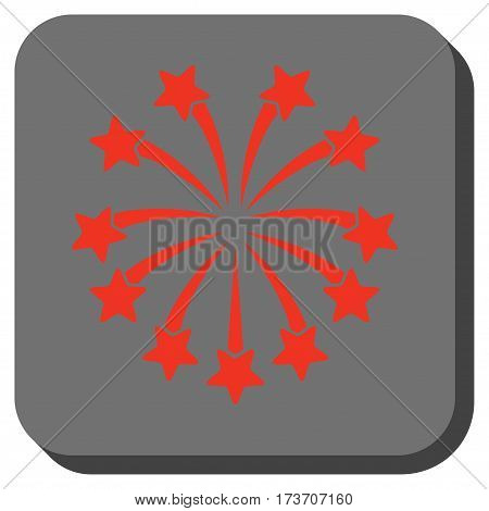 Spherical Fireworks square icon. Vector pictograph style is a flat symbol on a rounded square button, red and black colors.
