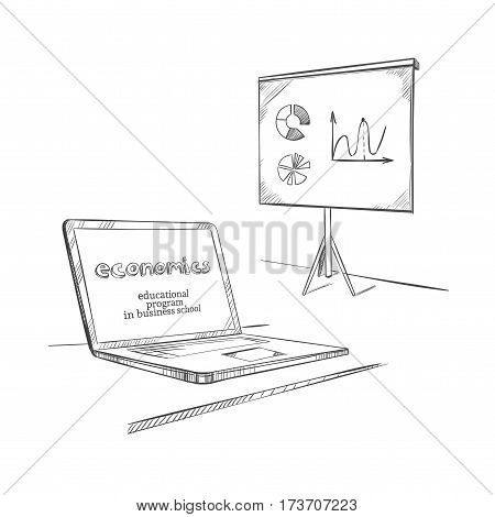 Hand drawn education template with laptop and whiteboard on tripod for business economics presentation isolated vector illustration