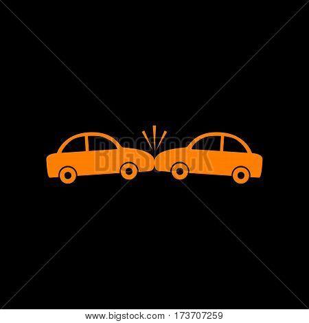 Crashed Cars sign. Orange icon on black background. Old phosphor monitor. CRT.