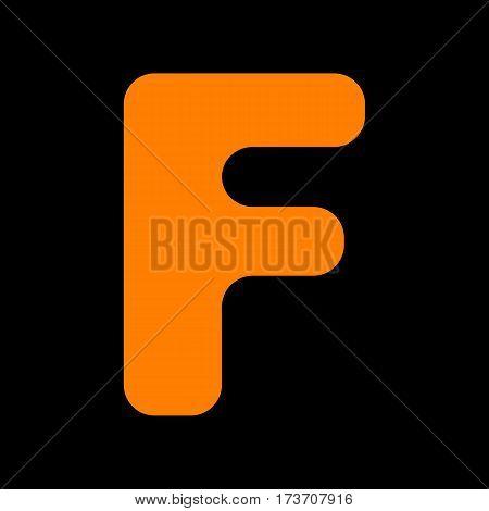 Letter F sign design template element. Orange icon on black background. Old phosphor monitor. CRT.