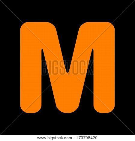 Letter M sign design template element. Orange icon on black background. Old phosphor monitor. CRT.