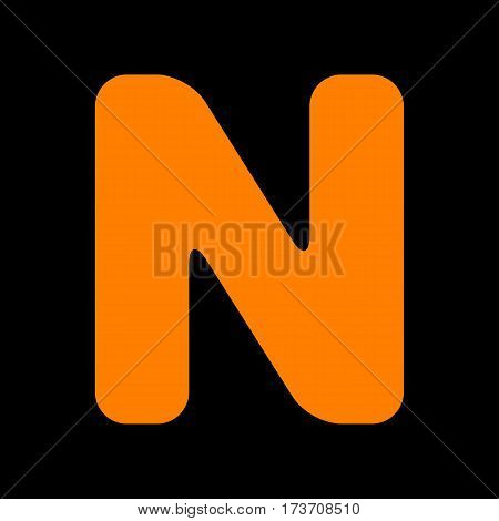 Letter N sign design template element. Orange icon on black background. Old phosphor monitor. CRT.