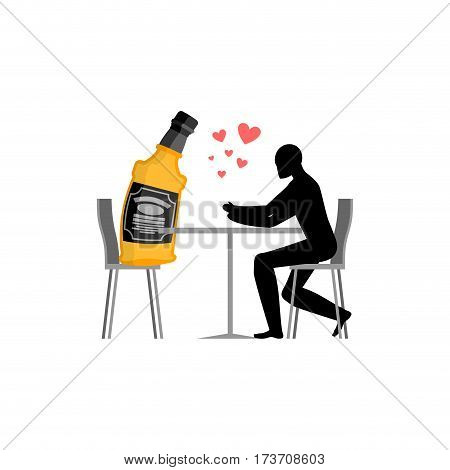 Lover Alcohol Drink. Man And Bottle Of Whiskey In Cafe. Lovers In Restaurant. Romantic Date. Alcohol