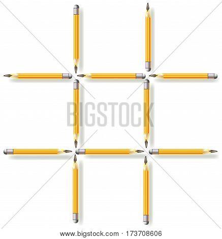 Logic puzzle. Move three pencils to make three squares. Vector image.
