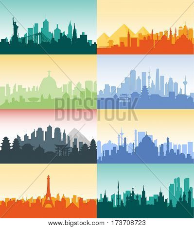 Vector vertical illustration background silhouette architecture buildings monuments town city country travel Moscow, Russian, capital, France, Paris, Japan, India, Egypt, pyramids, China Brazil USA