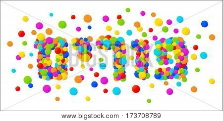 Vector Happy Purim carnival text with colorful rainbow colors paper confetti frame isolated on white background. Purim Jewish holiday.