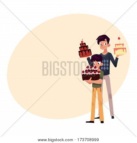 Father and son holding birthday cakes, getting ready for party, cartoon vector illustration with place for text. Young man and his little son choosing birthday cake