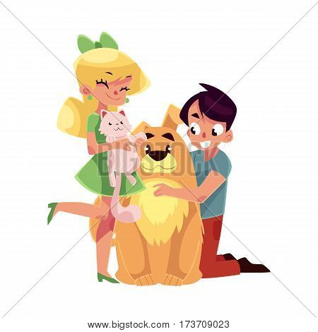 Two teenage kids, girl holding little cat, kitten, boy hugging big fluffy dog, cartoon vector illustration isolated on white background. Boy and girl with pets - dog, puppy and fluffy cat, kitten