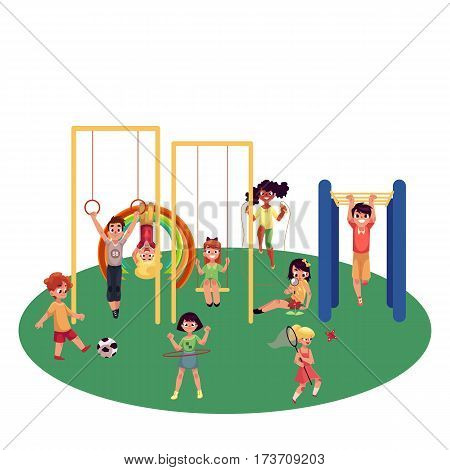 Kids, children playing at playground, monkey bars, swings, football, badminton, summer activity set, cartoon vector illustration isolated on white background. Set of kids having fun at playground