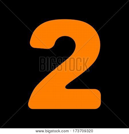 Number 2 sign design template elements. Orange icon on black background. Old phosphor monitor. CRT.