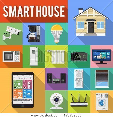 Smart House and internet of things Flat Icons Set with smartphone, tablet, security camera, router light bulb and smart tv with Long Shadows. Isolated vector illustration