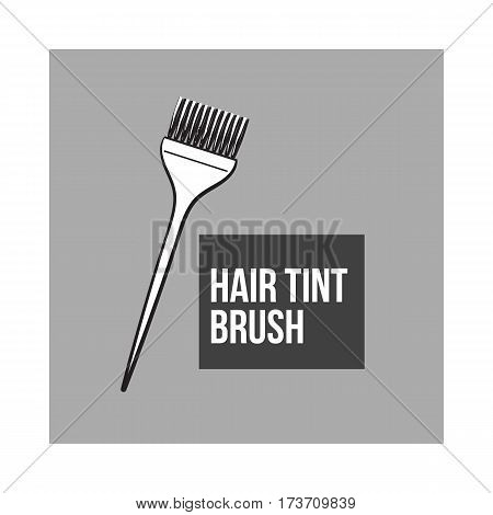 Color mixing plastic hairdresser brush, hairbrush, sketch style vector illustration isolated on grey background. Hairbrush, coloring brush, hairdresser tool for hair bleaching and coloring