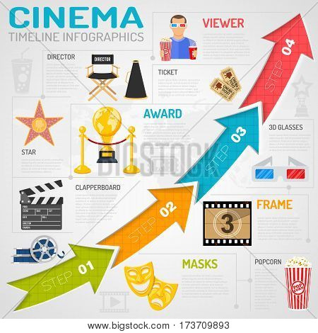 Cinema and movie Infographics with Flat Icons ticket, popcorn, 3D glasses, award and arrows. vector illustration