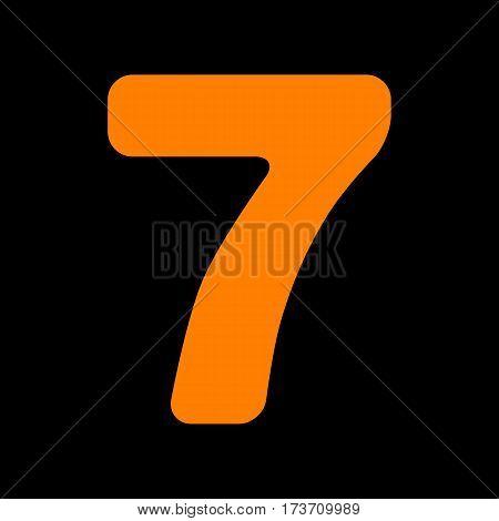 Number 7 sign design template element. Orange icon on black background. Old phosphor monitor. CRT.