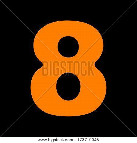 Number 8 sign design template element. Orange icon on black background. Old phosphor monitor. CRT.
