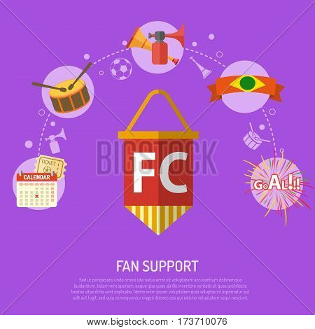 Soccer fan support concept with flat icons ticket, goal, pennant and drum, isolated vector illustration